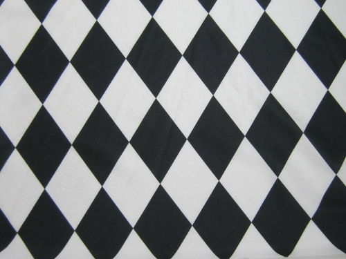 4 way Stretch Harlequin Black and White