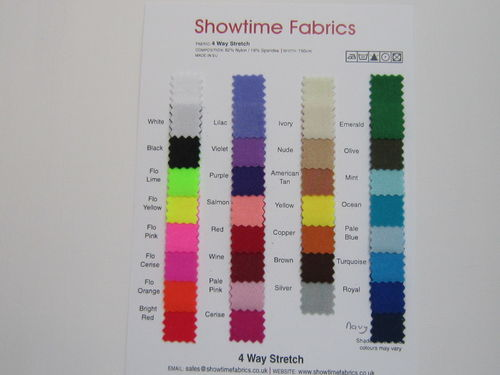 4 Way Stretch Lycra Type Shade Card