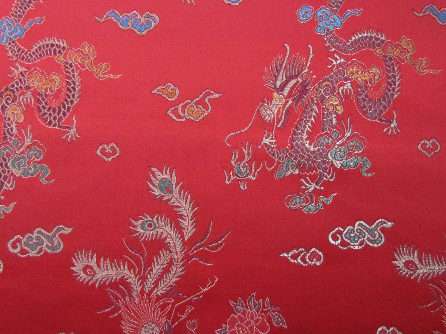 Chinese Brocade Dragon Print Red Showtime Fabrics